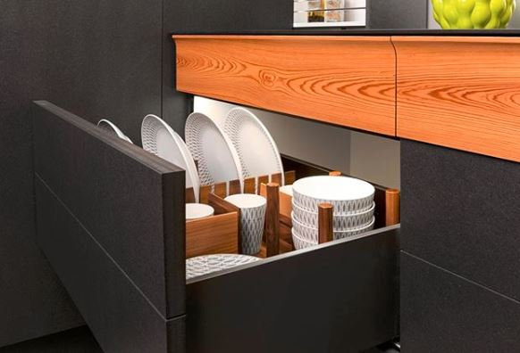 Deep drawer storage for dishes is a creative storage option