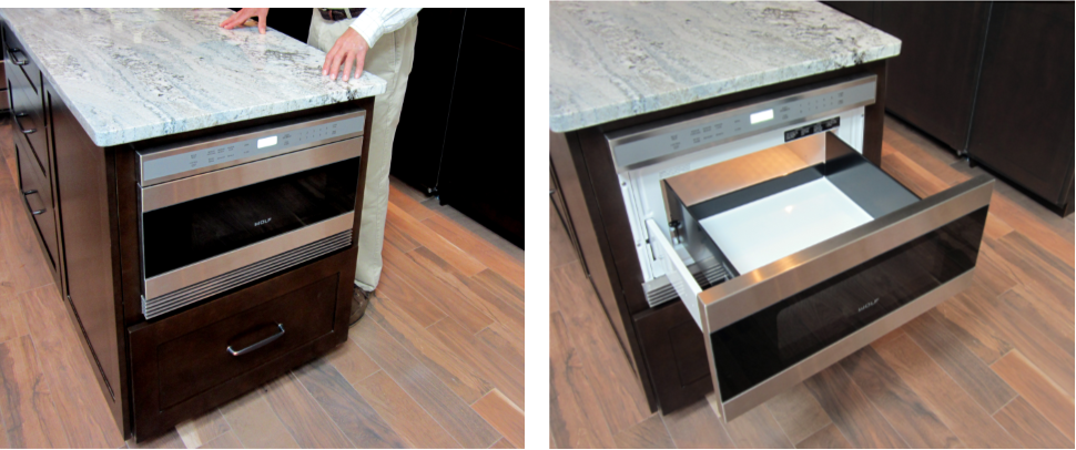 A microwave drawer saves space in a gourmet kitchen