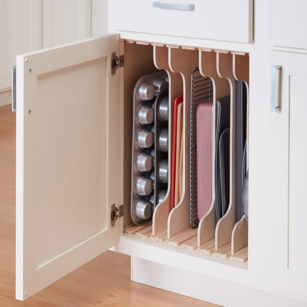 baking sheet organizer is a very clever storage solution
