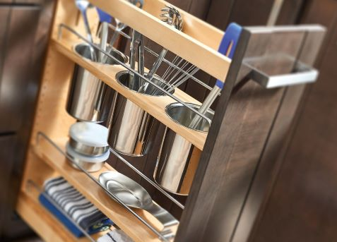 Pull out utensil bin storage