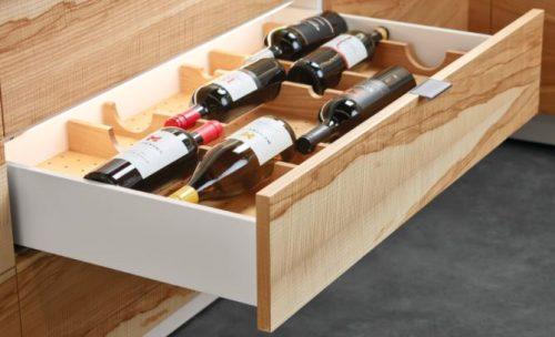 Convenient in-drawer wine bottle storage