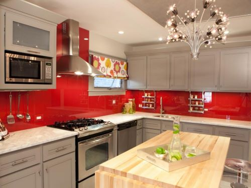 neutral kitchen cabinet colors with colorful backsplash