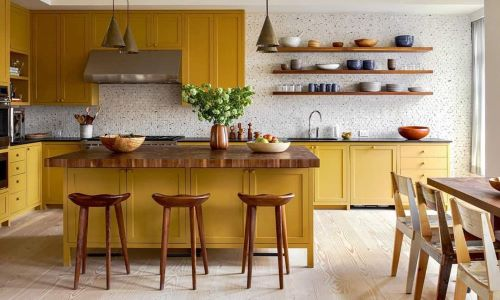 yellow is a trend color for kitchen cabinets in 2021